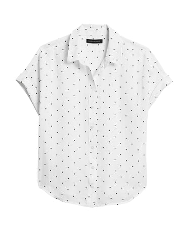 Cotton-Silk Roll-Cuff Shirt in Polka Dot