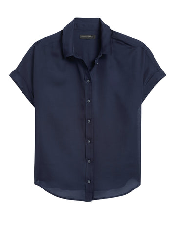 Cotton-Silk Roll-Cuff Shirt in Navy