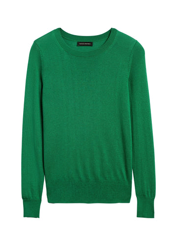 Silk Cashmere Crew-Neck Sweater in Luscious Green