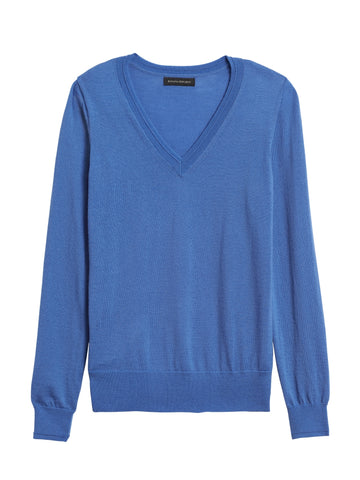 Merino V-Neck Sweater in Bright Blue