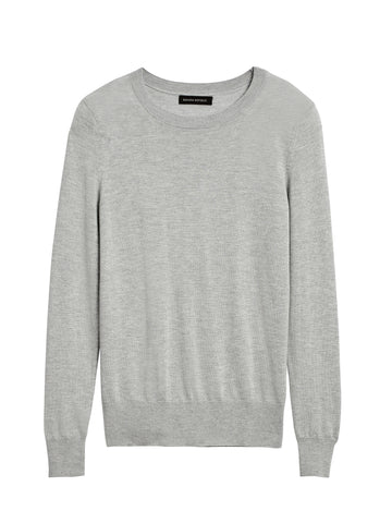Silk Cashmere Crew-Neck Sweater in Light Gray