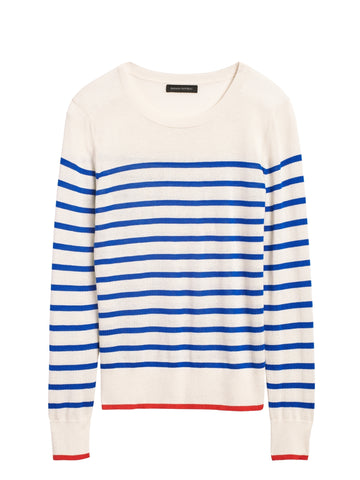Silk Cashmere Crew-Neck Sweater in Bold Blue Stripe