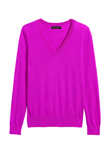 Merino V-Neck Sweater in Neon Fuschia