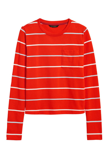 Cotton Crew-Neck T-Shirt in Red Stripe