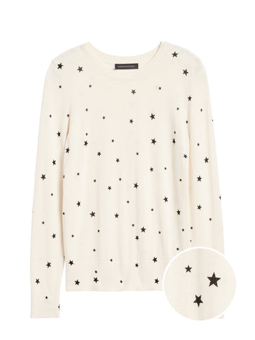 Silk Cashmere Star Sweater in White & Black
