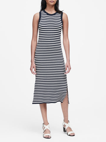 Stripe Knit Dress in Navy & White Stripe
