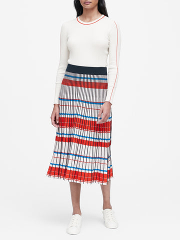 Pleated Knit Midi Skirt in Blue White & Red Stripes