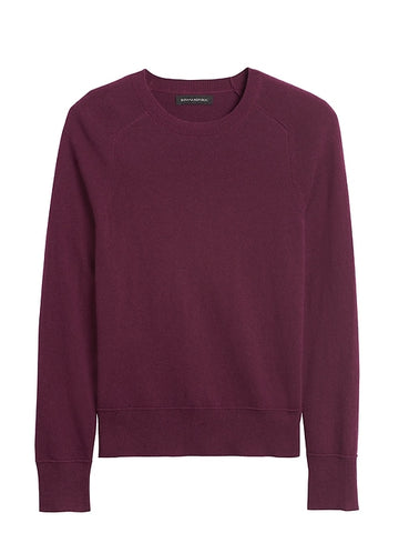 Italian Merino-Blend Crew-Neck Sweater in Red Wine