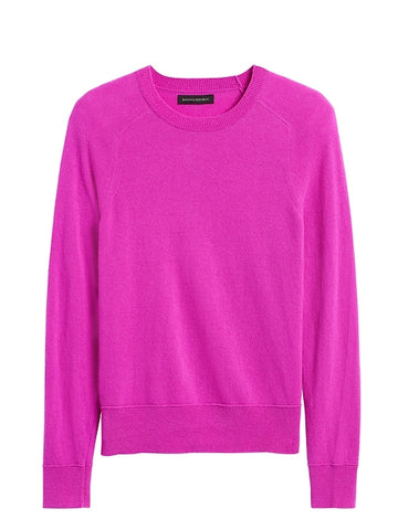 Italian Merino-Blend Crew-Neck Sweater in Neon Fuchsia