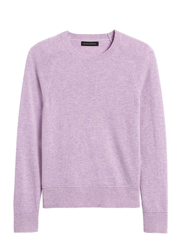 Italian Merino-Blend Crew-Neck Sweater in Lavender Purple
