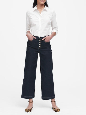 Petite Riley Tailored-Fit Shirt in Pure White