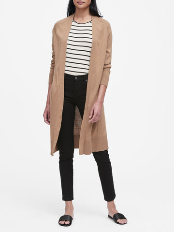 Silk Cotton Duster Cardigan Sweater in Camel