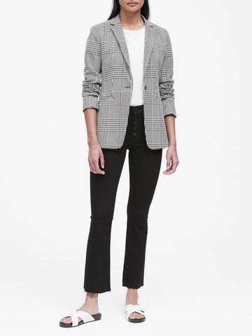 Long and Lean-Fit Plaid Blazer in Black & White Houndstooth