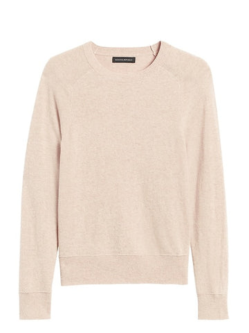 Italian Merino-Blend Crew-Neck Sweater in Oatmeal