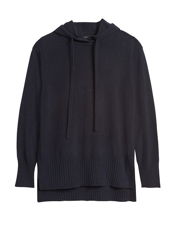 Italian Wool-Blend Sweater Hoodie in Deep Navy