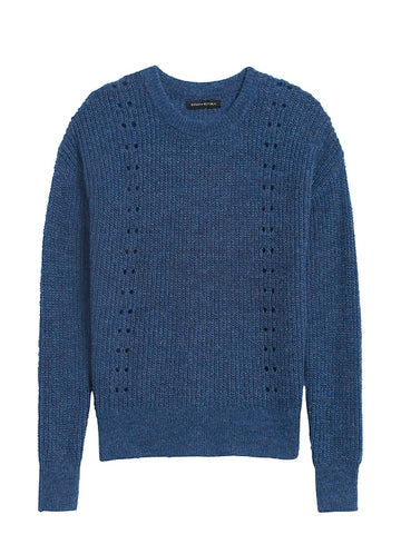 Cropped Pointelle-Knit Sweater in Deep Blue