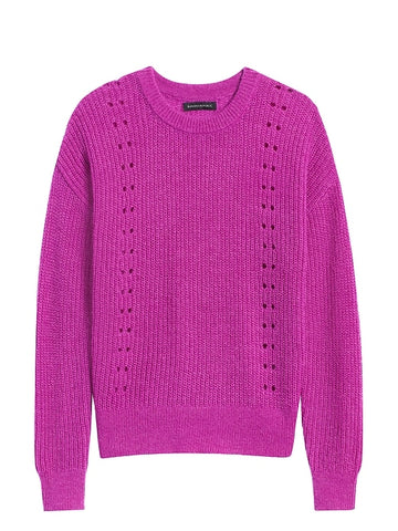 Cropped Pointelle-Knit Sweater in Bright Magenta