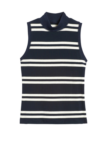 Ribbed Mock-Neck Tank in Navy & White Stripe