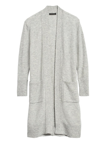 Aire Duster Cardigan Sweater in Light Gray