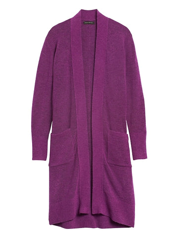 Aire Duster Cardigan Sweater in Fuchsia Purple