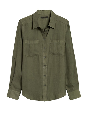 Dillon Classic-Fit Utility Shirt in Dark Olive Green