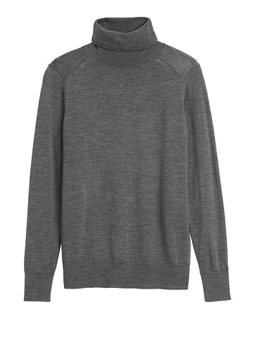 Merino Turtleneck Sweater in Charcoal Gray