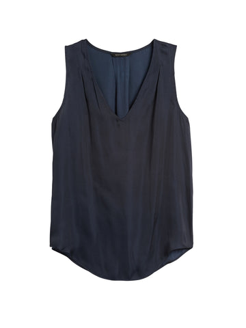 Soft Satin Pleated Drapey Tank in Navy