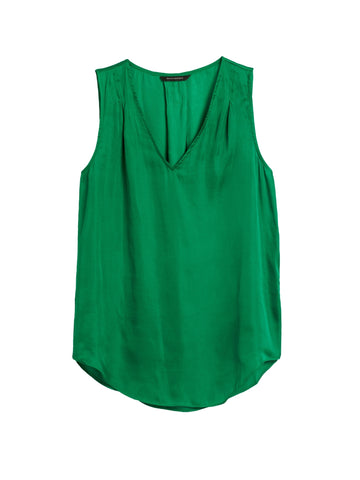 Soft Satin Pleated Drapey Tank in Luscious Green