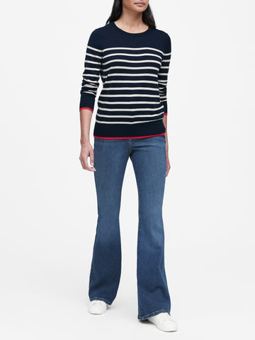 Silk Cashmere Crew-Neck Sweater in Navy & White Stripe