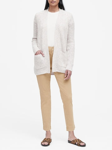 Merino-Blend Long Cardigan Sweater in Oatmeal