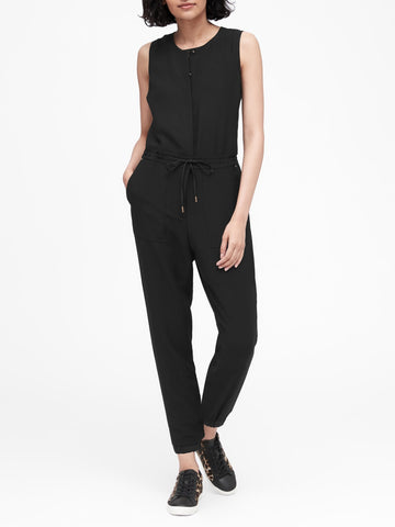 Side-Stripe Cropped Jumpsuit in Black