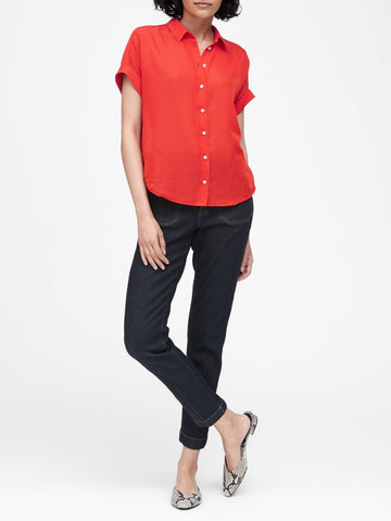 Cotton-Silk Roll-Cuff Shirt in Hot Red