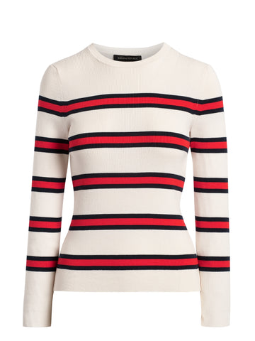 Stretch-Cotton Fitted Sweater in White & Red Stripe