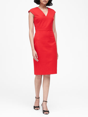 Bi-Stretch V-Back Dress in Ultra Red