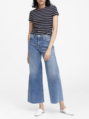 Petite High-Rise Wide-Leg Cropped Jean in Heather Blue