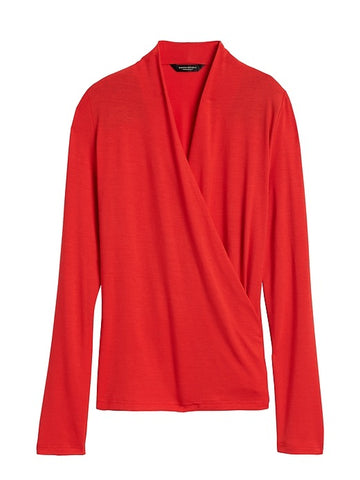 Threadsoft Wrap Top in Ultra Red