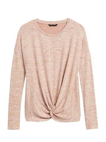 Luxespun Twisted T-Shirt in Cool Beige