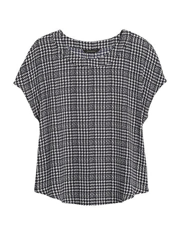 Drapey Top in Black & White Houndstooth Plaid