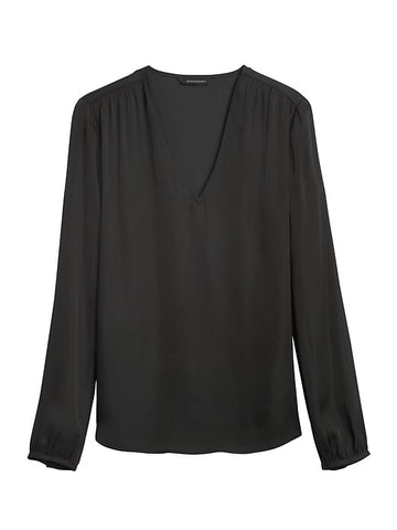 Soft Satin Smocked Blouse in Black
