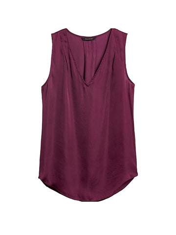Soft Satin Pleated Drapey Tank in Wine Red