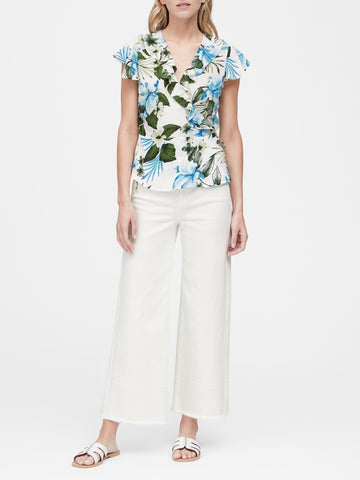 Tropical Print Ruffle-Wrap Top in White Floral