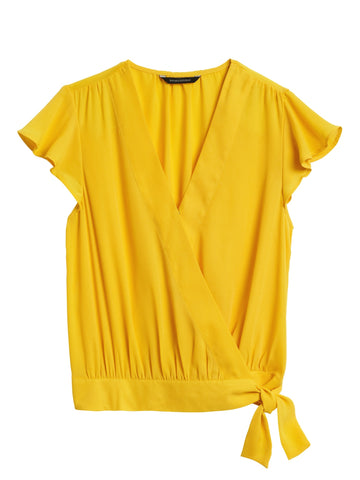 Cropped Ruffle-Wrap Top in Sunny Yellow