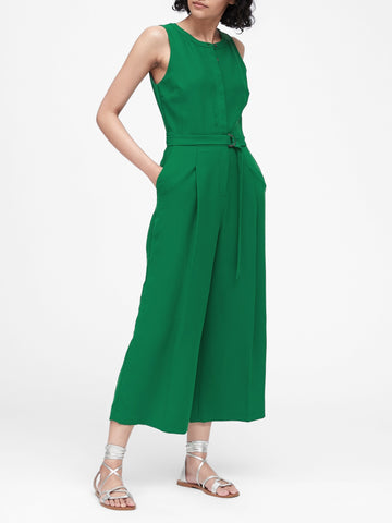 Wide-Leg Cropped Jumpsuit in Kelly Green