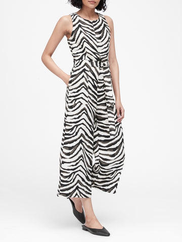 Animal Print Wide-Leg Cropped Jumpsuit in Zebra Print