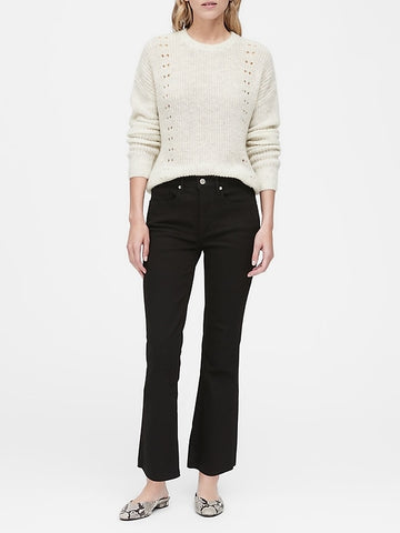 Cropped Pointelle-Knit Sweater in Light Gray