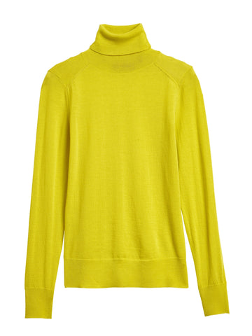 Merino Turtleneck Sweater in Neon Yellow-Green