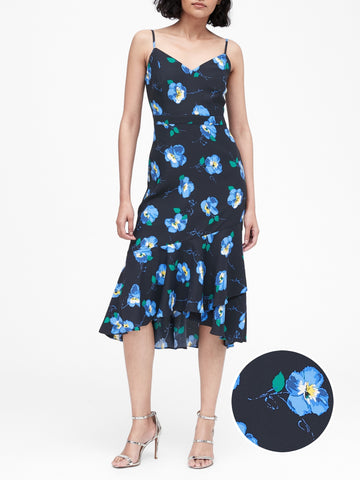 Print Midi Sheath Dress in Navy Pansy Floral