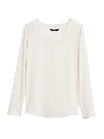 Pleat-Back Blouse in White