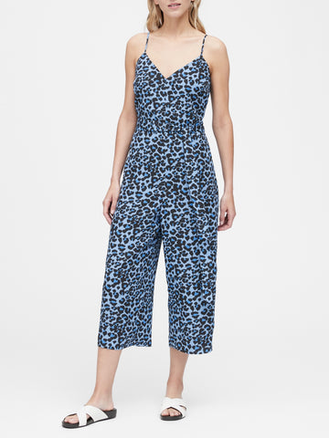 Leopard Wide-Leg Cropped Jumpsuit in Blue Leopard