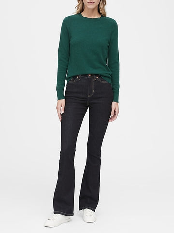 Italian Merino-Blend Crew-Neck Sweater in Forest Green